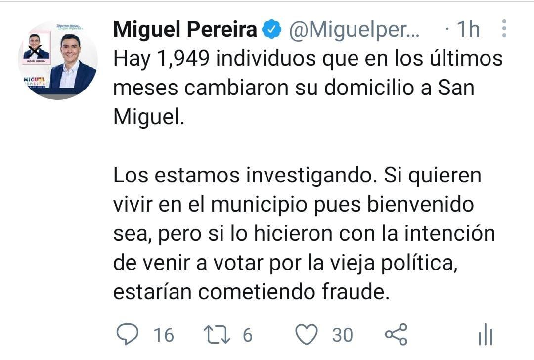 Miguel Pereira está ojo al Cristo!