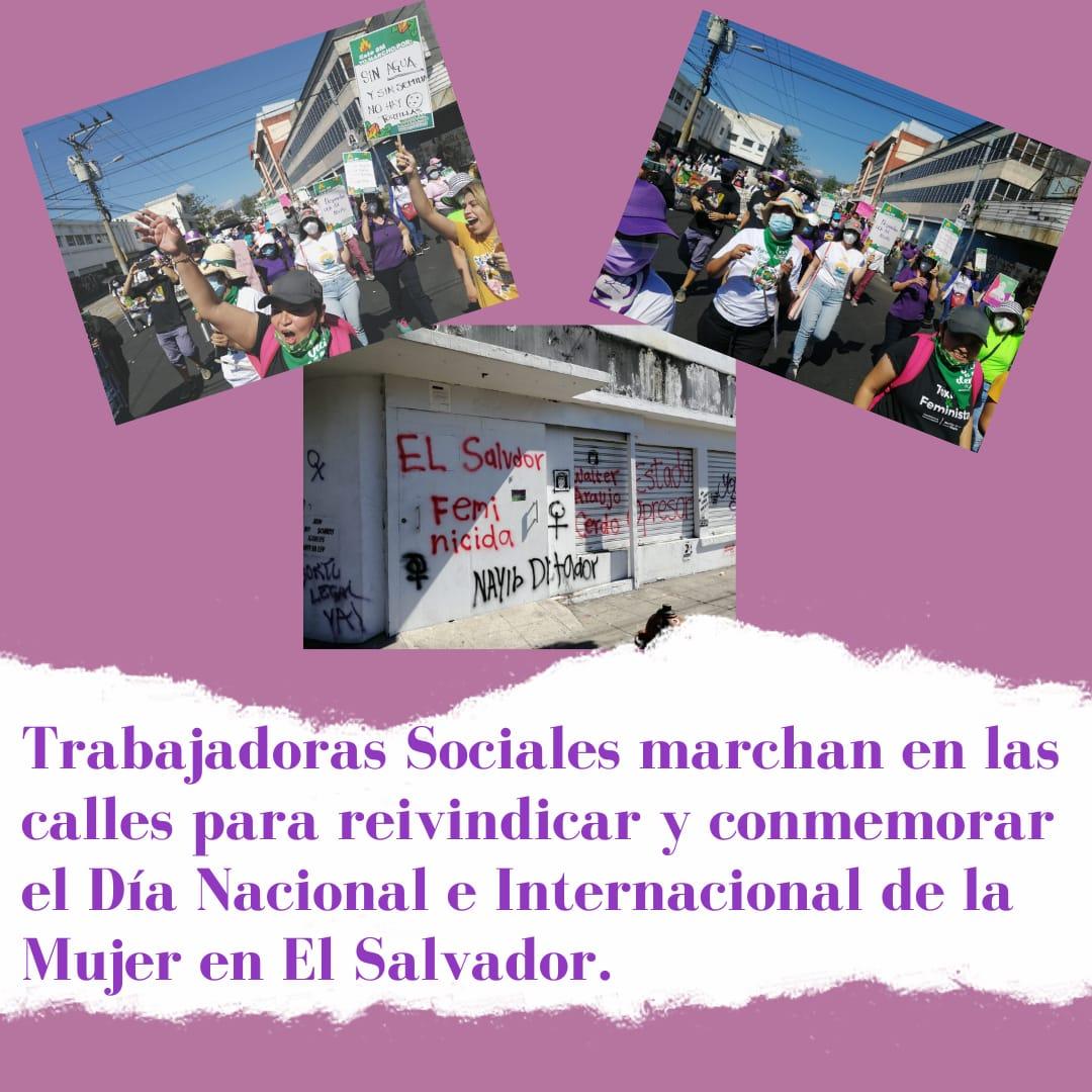 Trabajadoras Sociales marchan en las calles para reivindicar y conmemorar el Día Nacional e Internacional de la Mujer en El Salvador